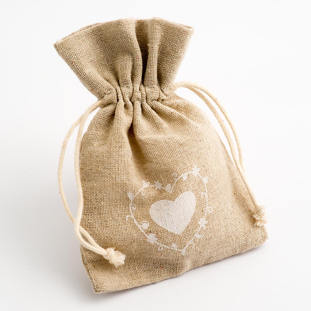Large Heart Hessian Bags x 10
