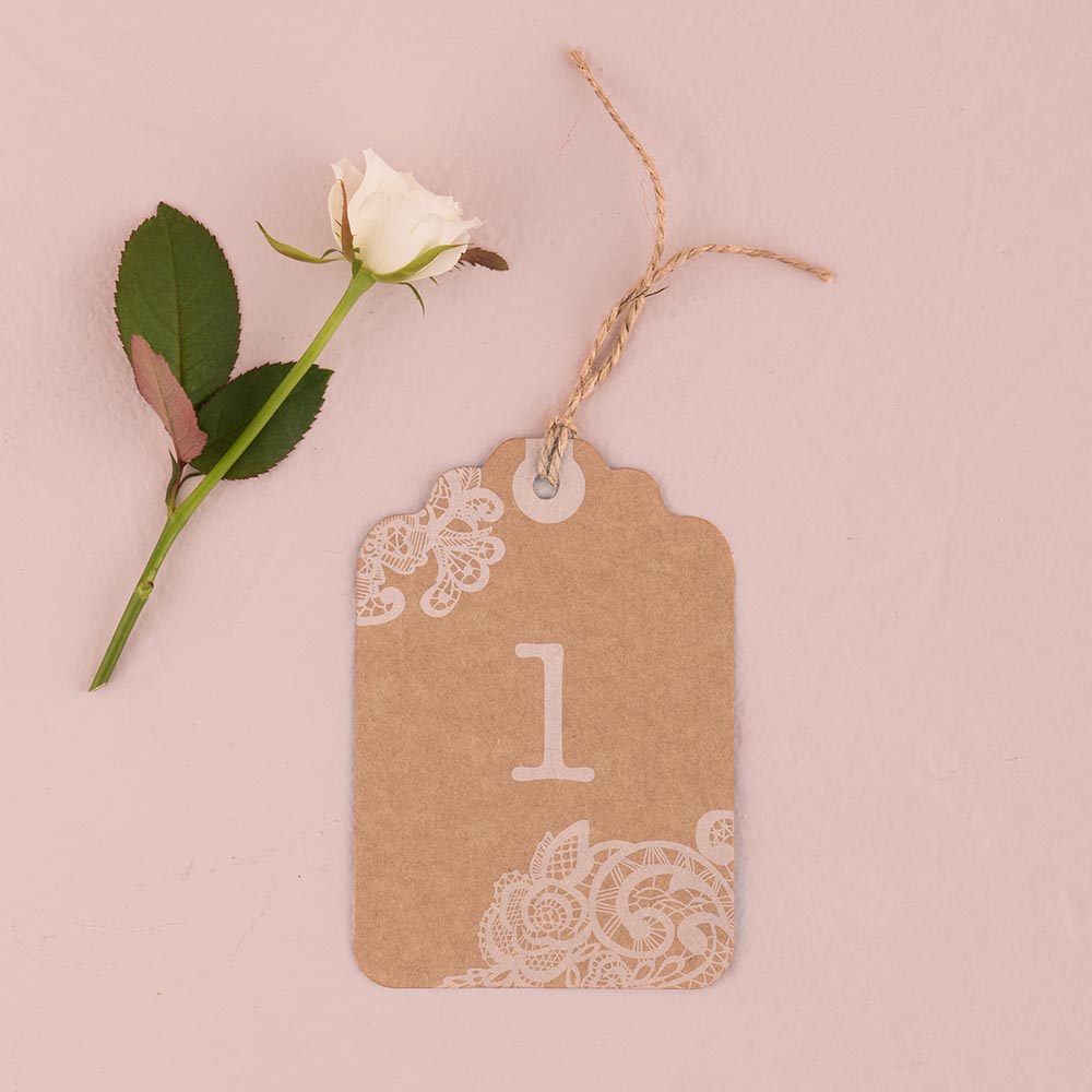 Large Kraft Tag with Lace Print Table numbers 1-12