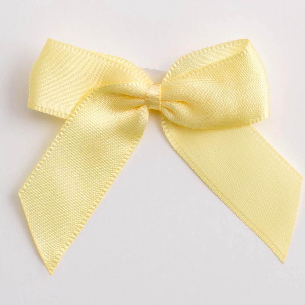 Lemon Yellow Satin Bows 12 Pack