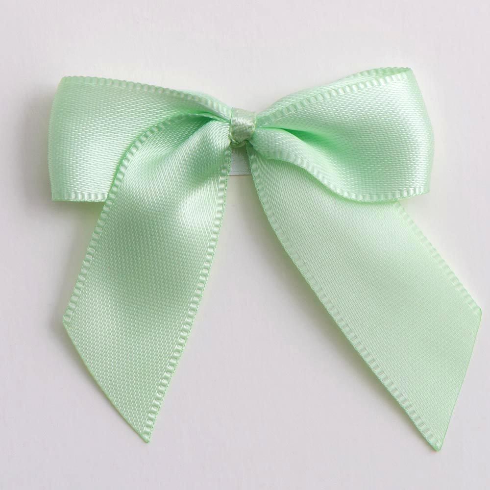 Light Green Satin Bows 12 Pack