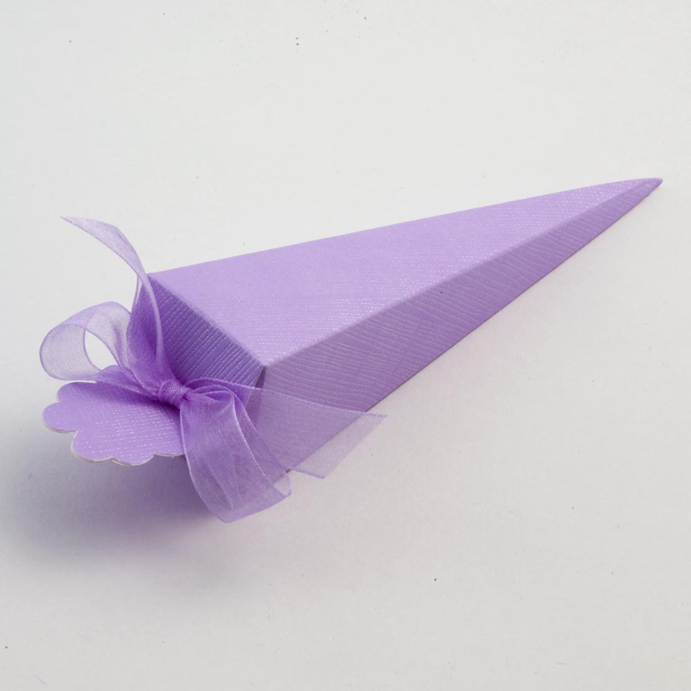 Lilac Silk Cone Favour Box