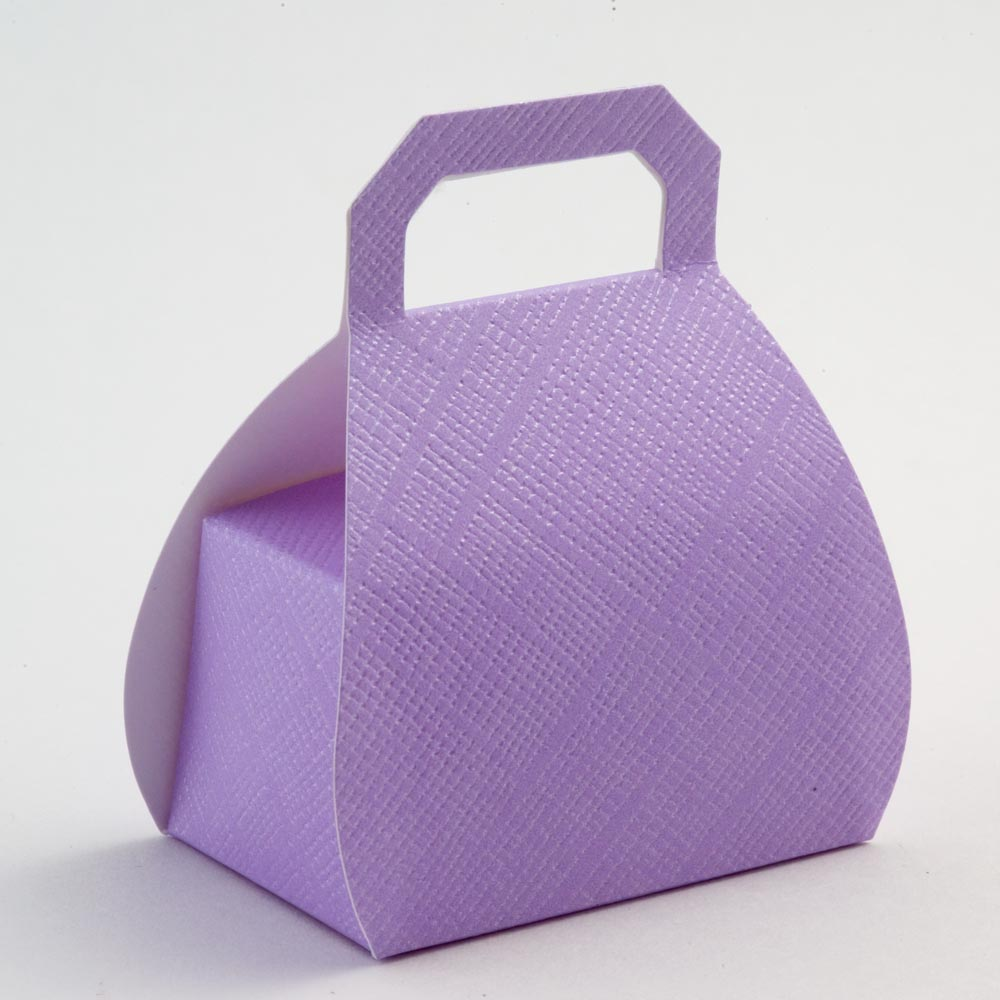 Lilac Silk Handbag Favour Box