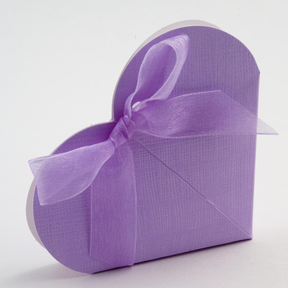 Lilac Silk Heart Favour Box