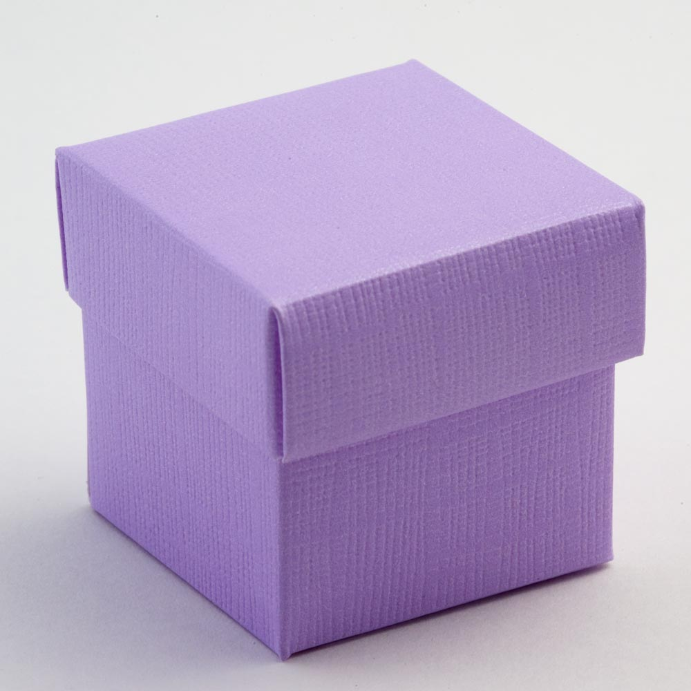 Lilac Silk Square Favour Box with Lid