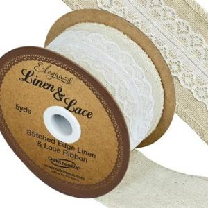 Linen & White Lace Ribbon 50mm x 5yards
