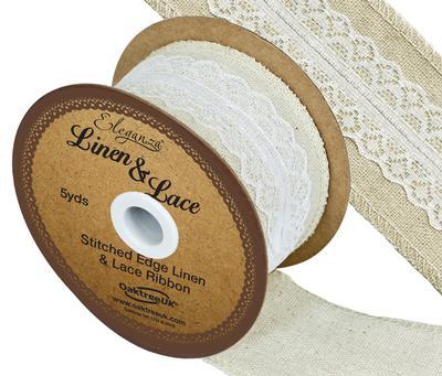 Linen & White Lace Ribbon 50mm x 5yards