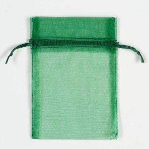 Medium Bottle Green Organza Favour Bag