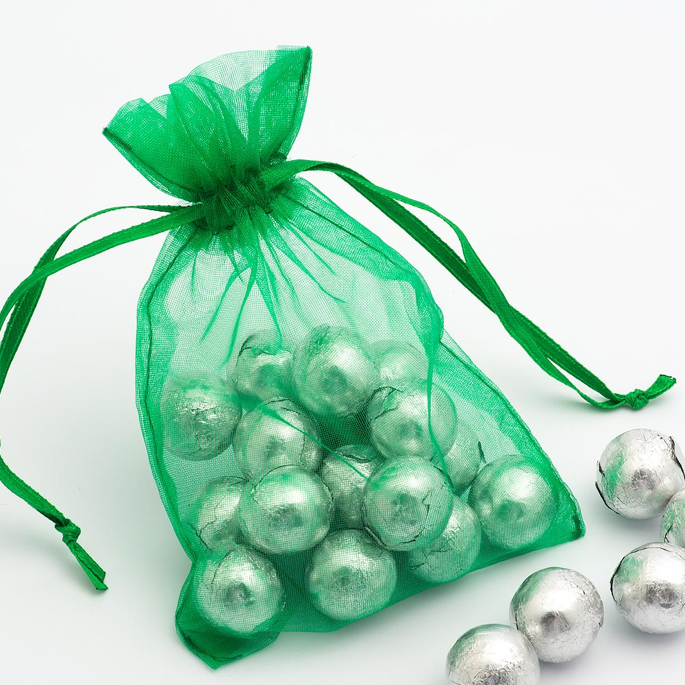 Medium Bright Emerald Organza Favour Bag