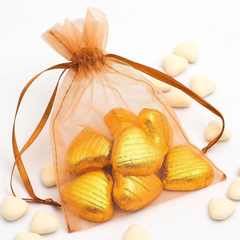 Medium Caramel Organza Favour Bag