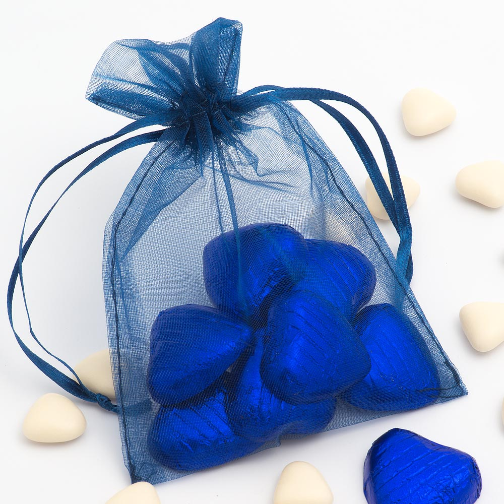 Medium Dark Blue Organza Favour Bag