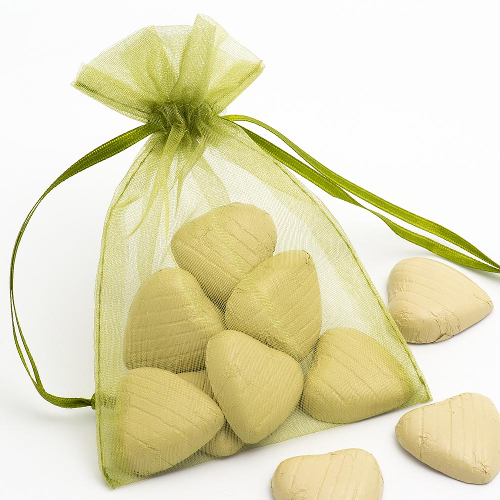Medium Olive Organza Favour Bag