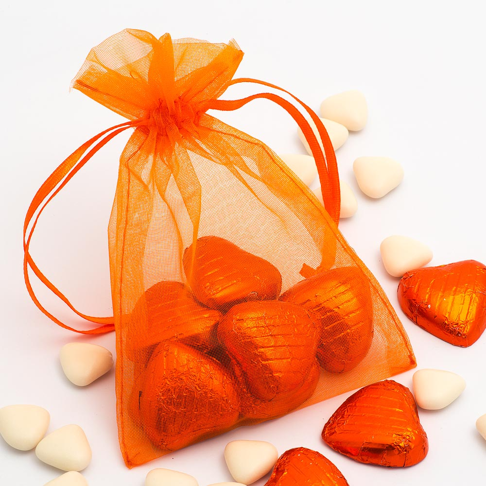 Medium Orange Organza Favour Bag