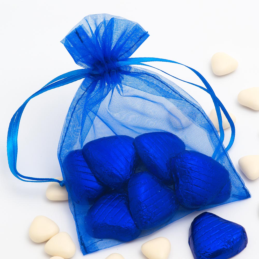 Medium Royal Blue Organza Favour Bag