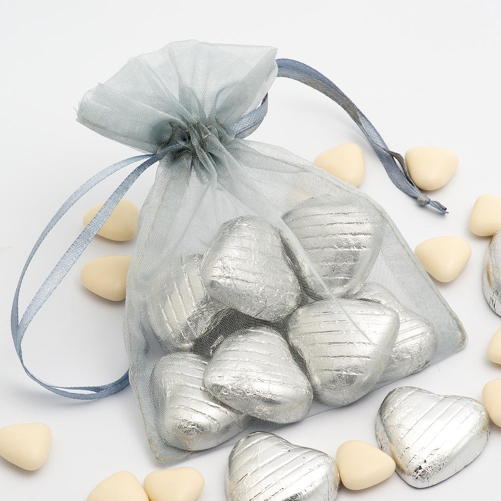 Medium Silver Organza Favour Bag