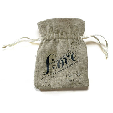Mini Hessian Drawstring Bags with Love Print x 12
