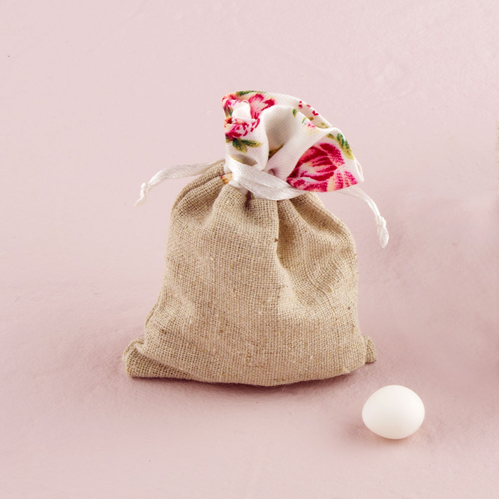 Mini Hessian Drawstring Bags with Vintage Rose Trim x 12