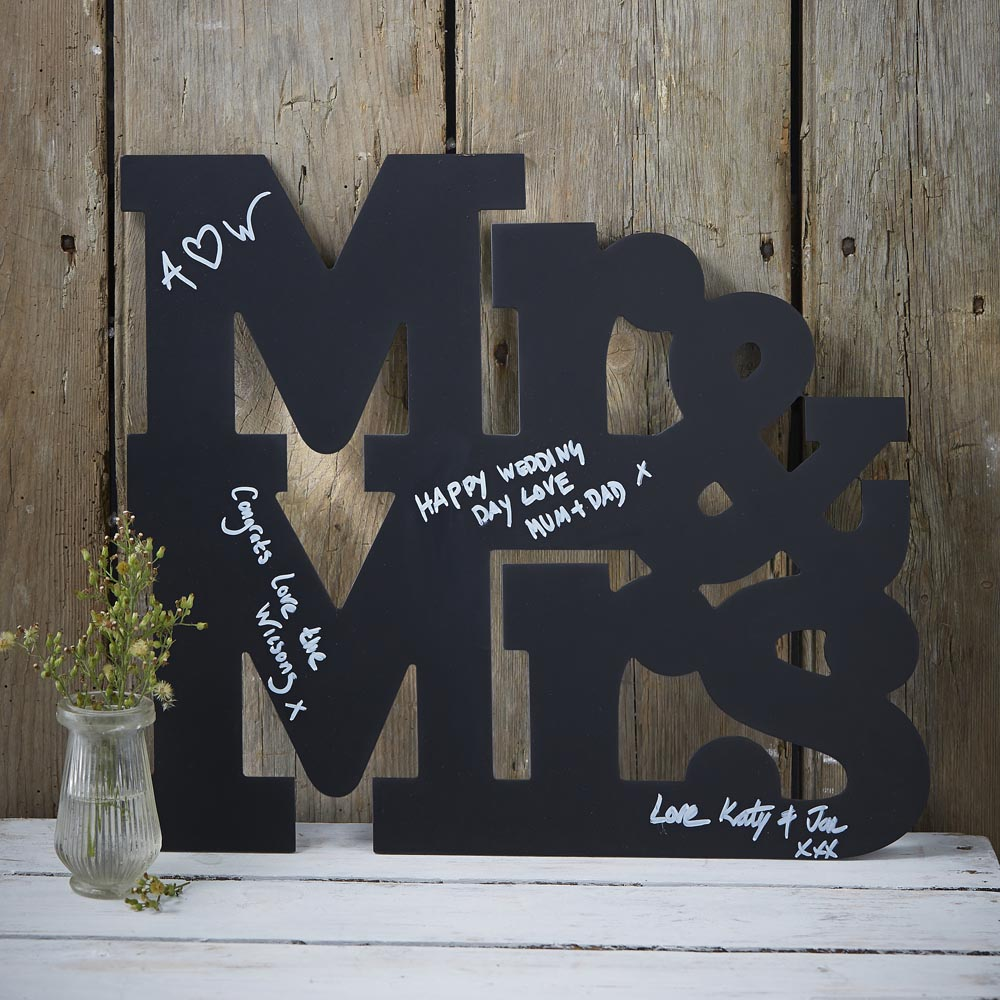 Mr And Mrs Chalkboard Wooden Guest Book Alternative