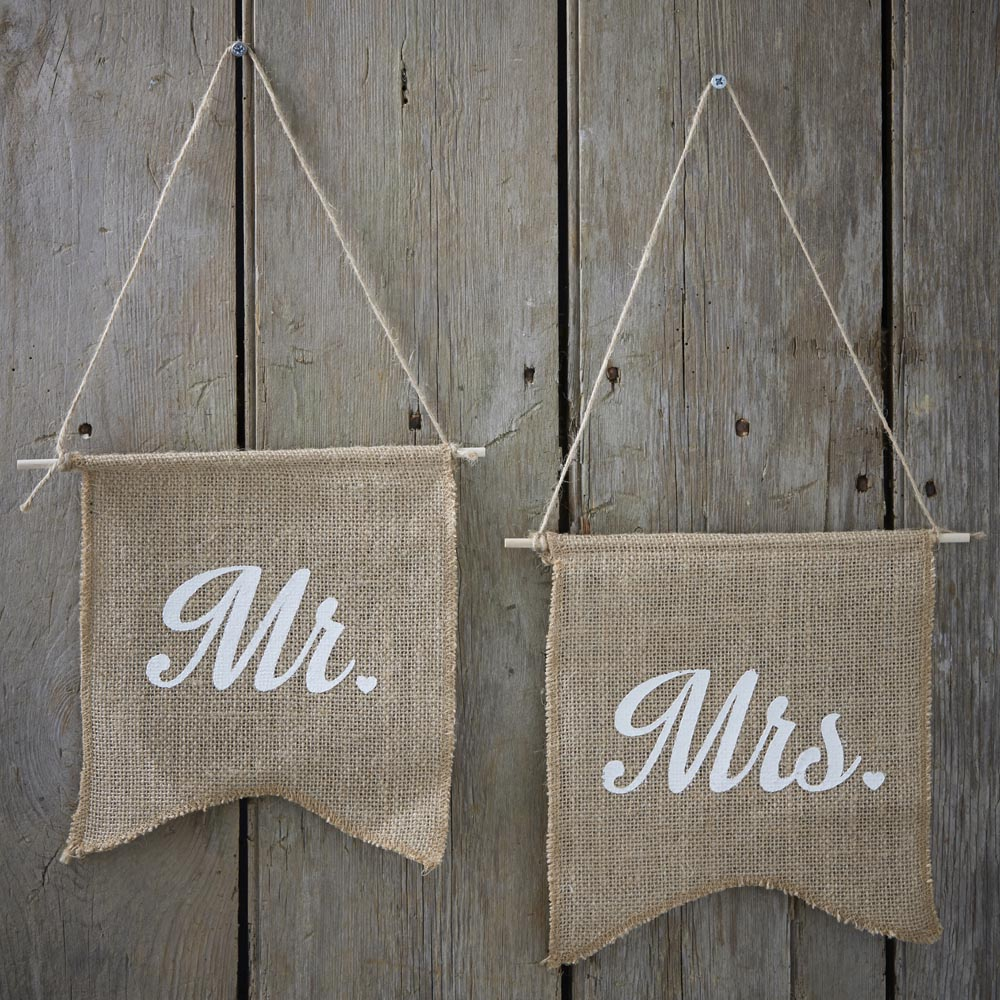 Mr & Mrs Hessian Flags