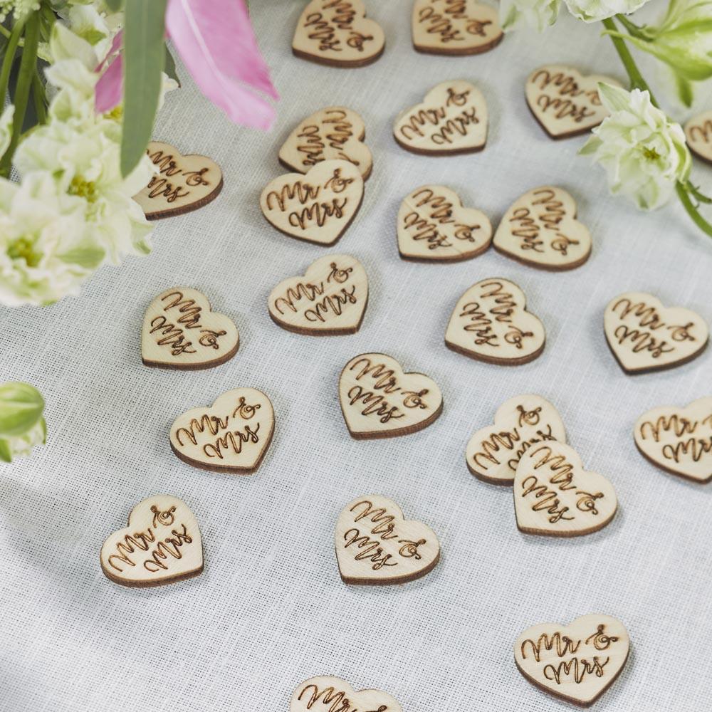 """Mr and Mrs"" Wooden Table Confetti"