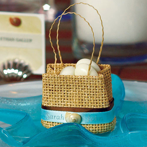 Natural Mini Woven Beach Bag Favours x 6