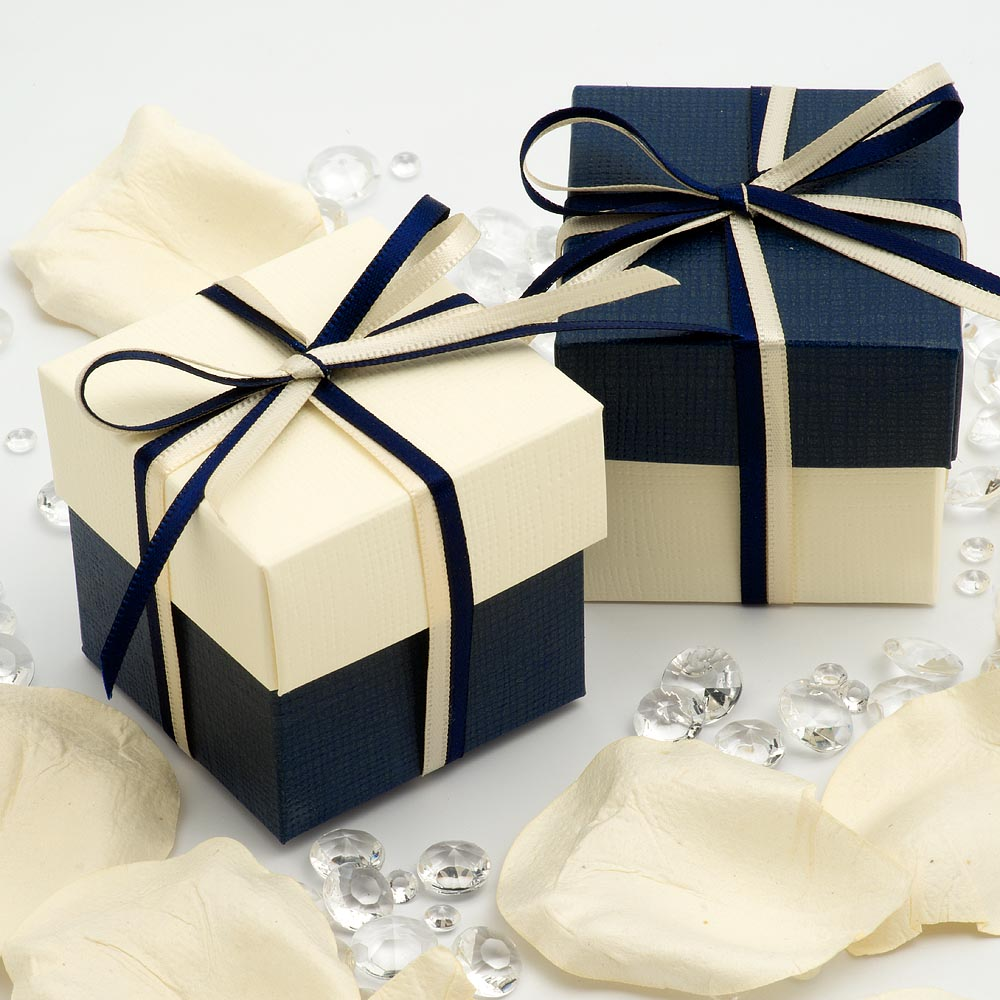 Navy & Ivory Silk Square Box and Lid