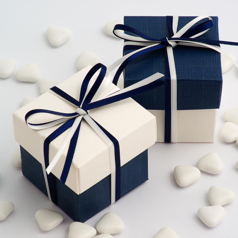 Navy & White Silk Square Box and Lid