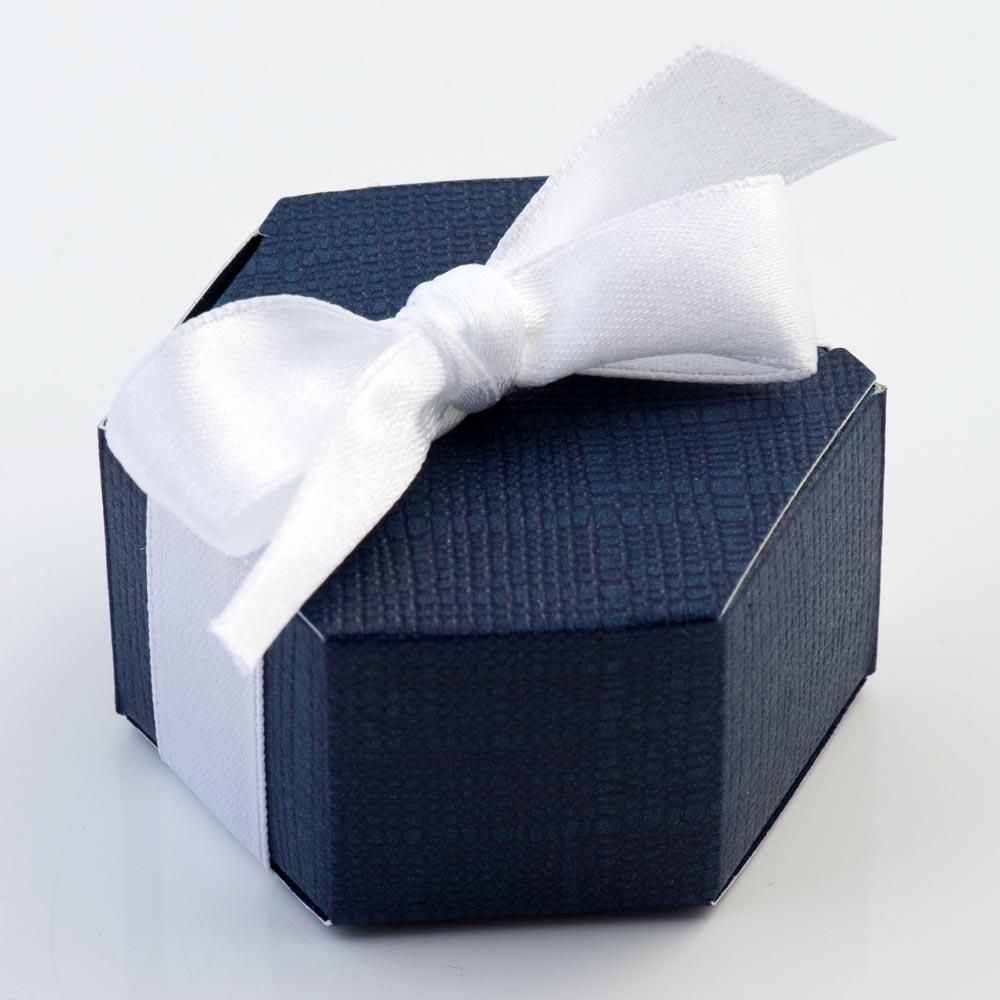 Navy Silk Hexagonal Favour Box