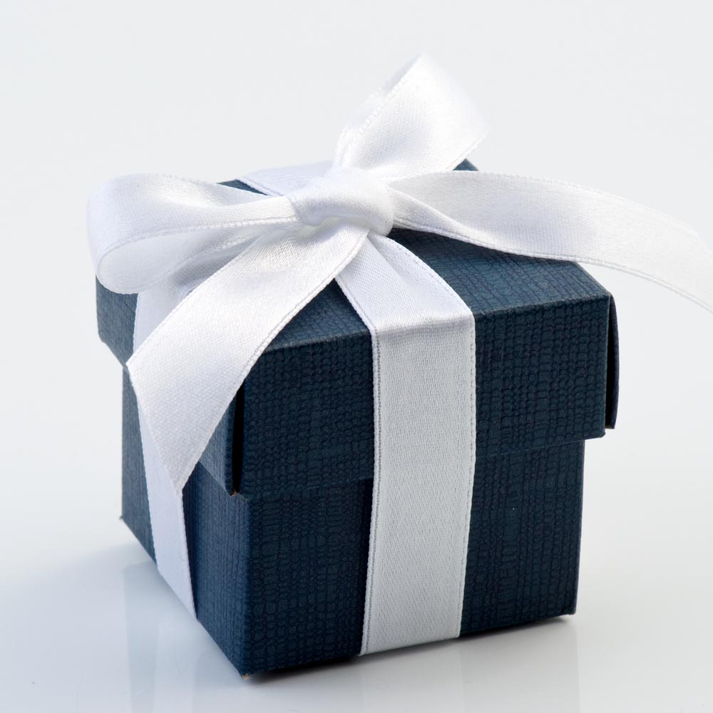 Navy Silk Patterned Favour Box with Lid