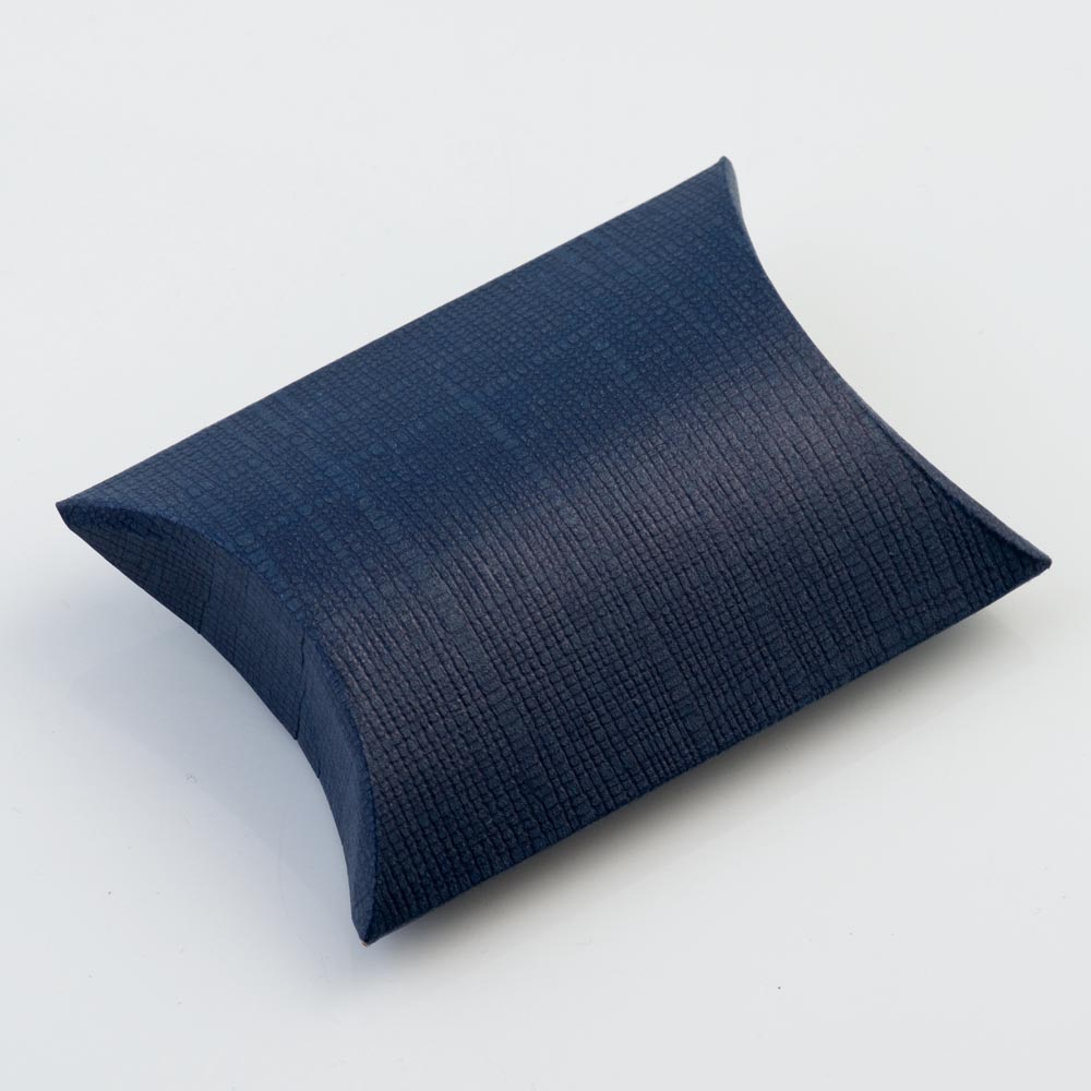 Navy Silk Pillow Favour Box