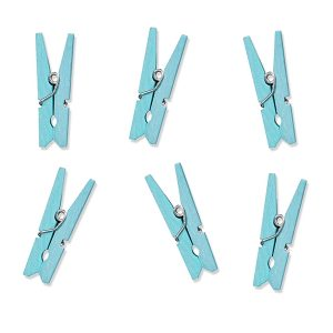 Pale Blue Mini Wooden Pegs
