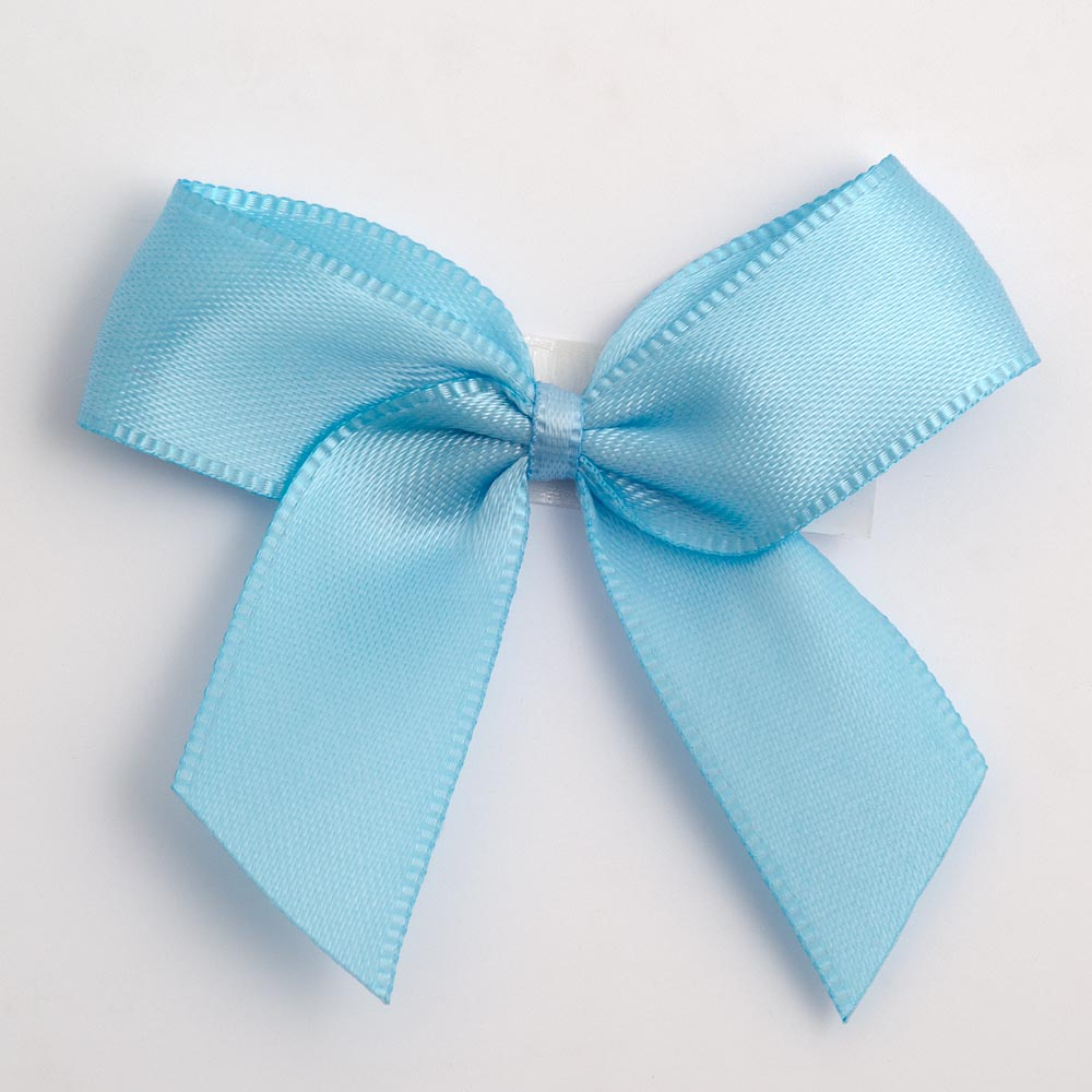 Pale Blue Satin Bows 12 Pack