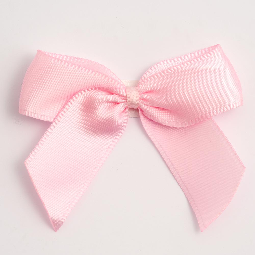 Pale Pink Satin Bows 12 Pack
