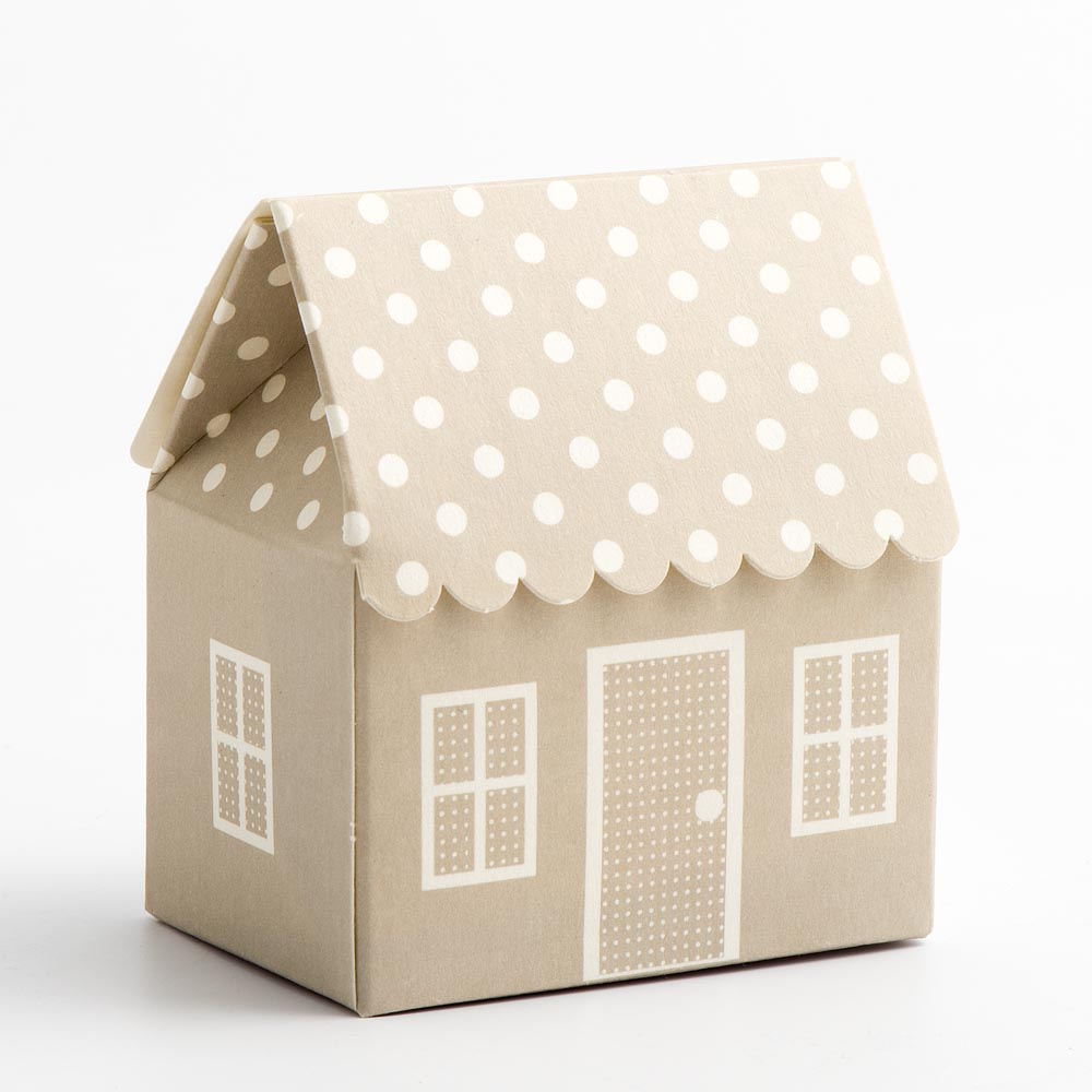 Pearl Grey Polka Dot House Favour Box