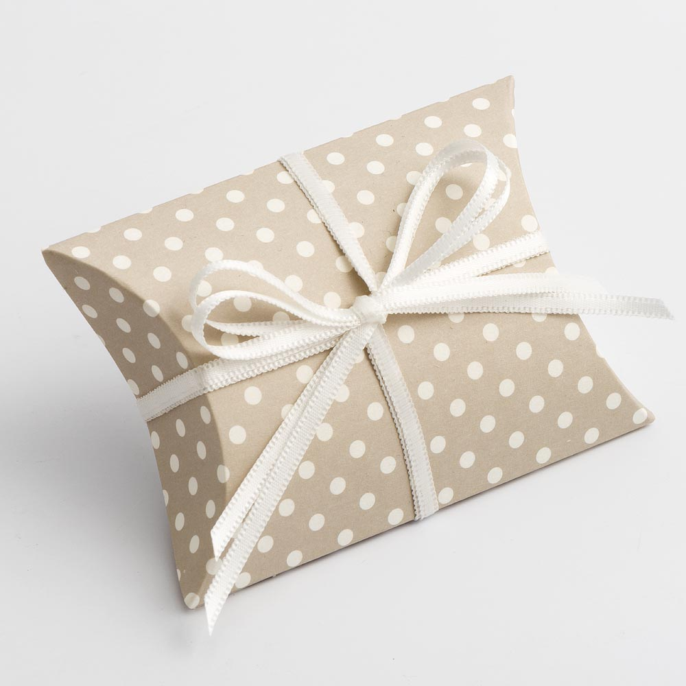 Pearl Grey Polka Dot Pillow Favour Box