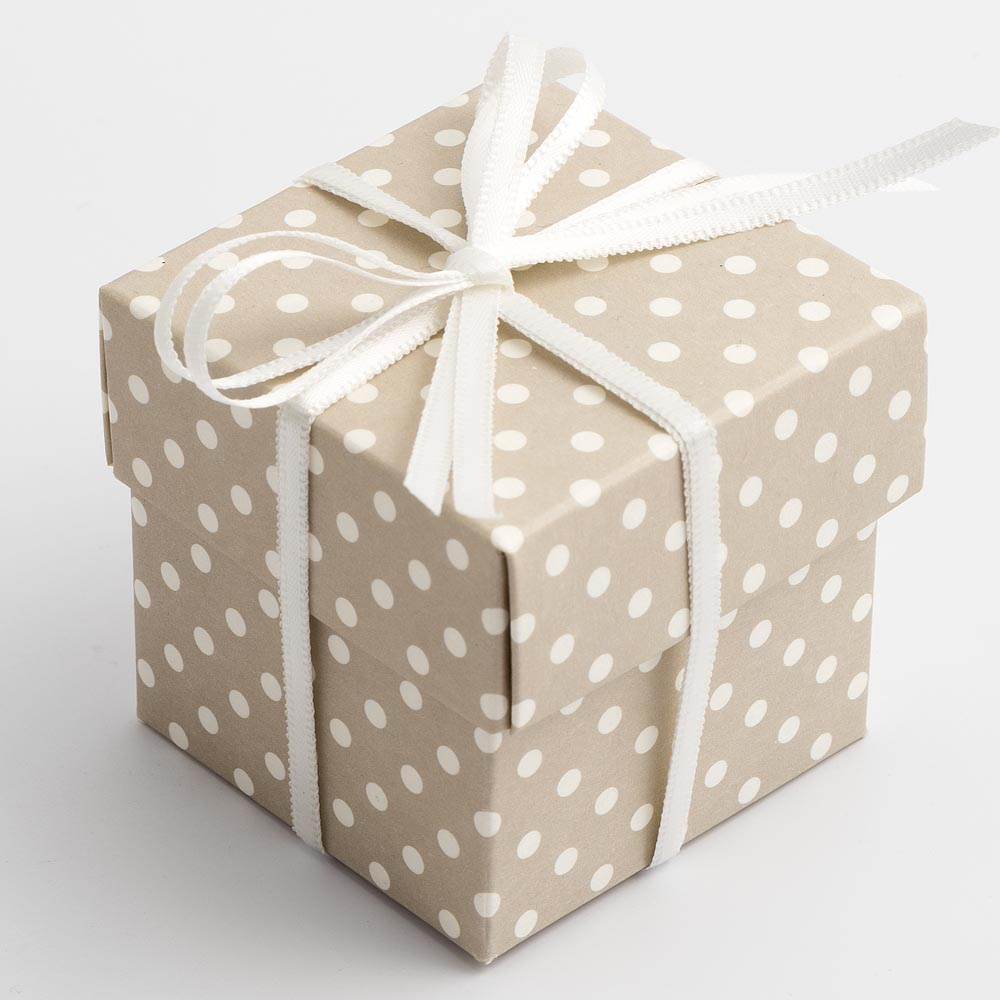 Pearl Grey Polka Dot Square Favour Box with Lid