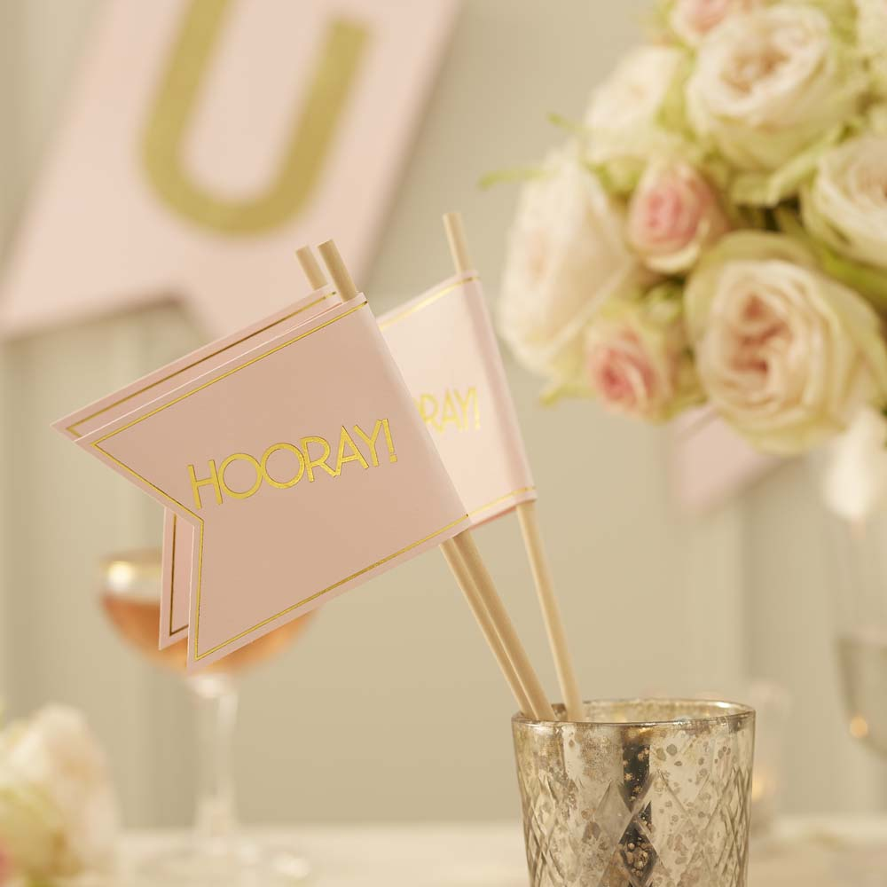 Pink & Gold Wedding Flags