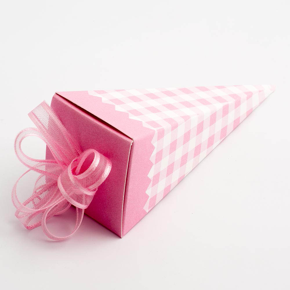 Pink Gingham Cone Favour Box