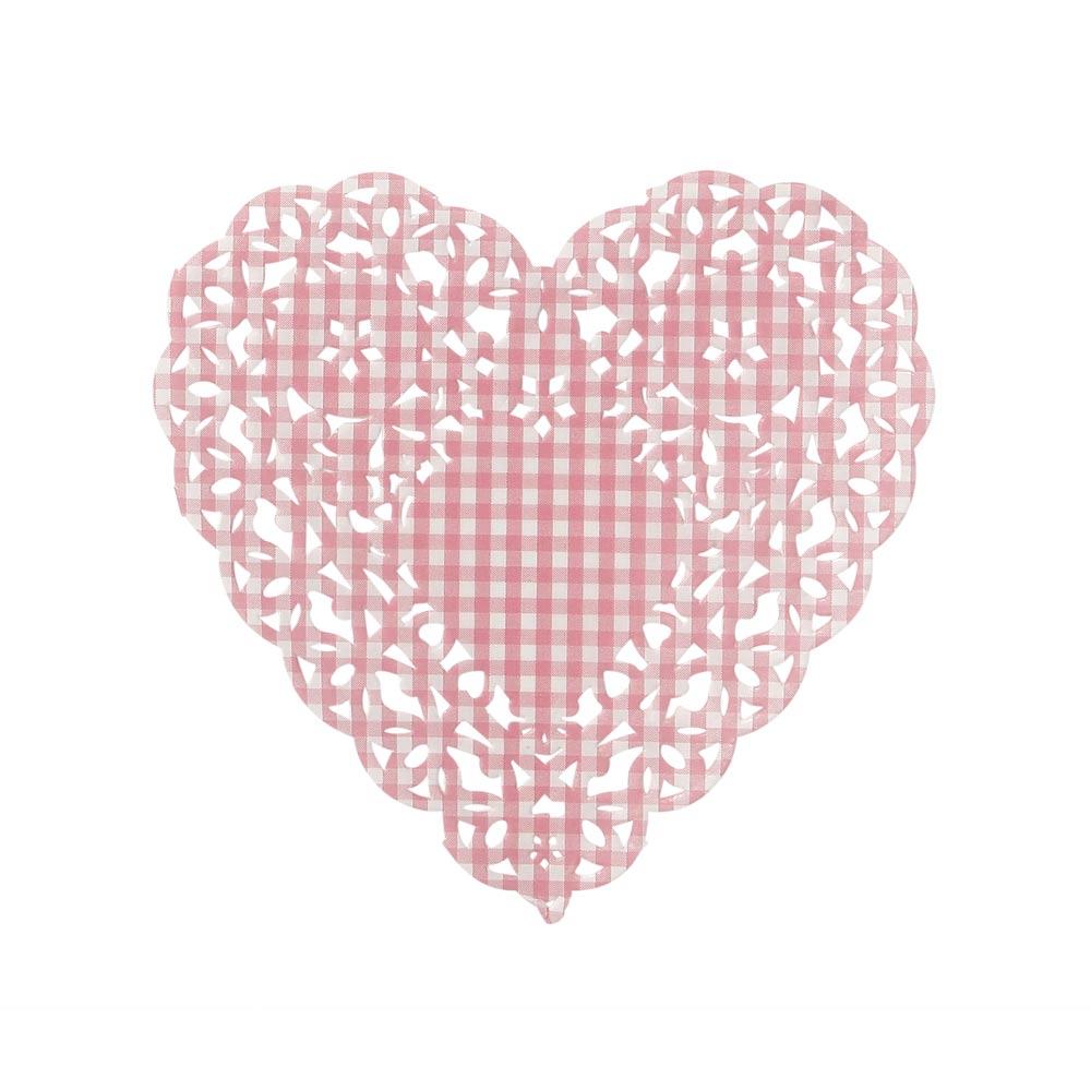 Pink Heart Doilies
