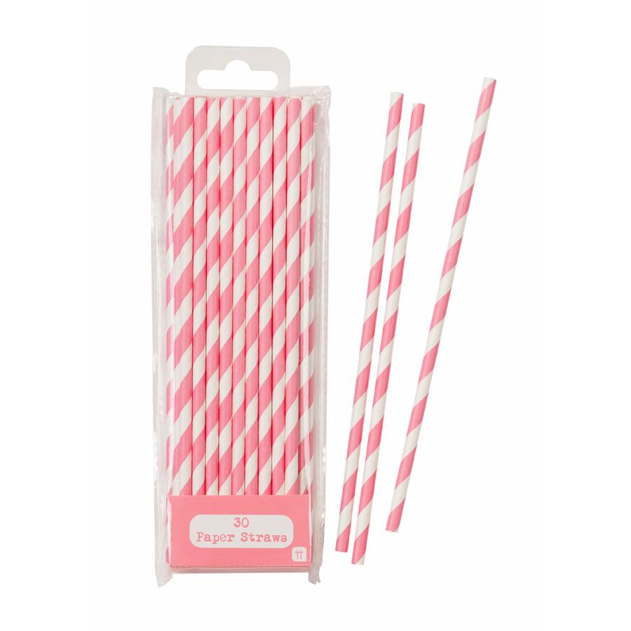 Pink Striped Paper Straws
