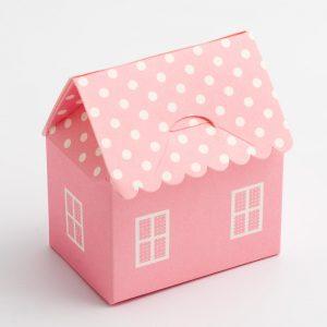 Pink Polka Dot House Favour Box