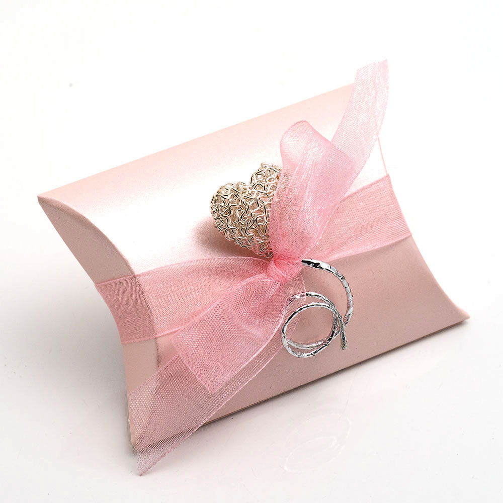 Pink Satin Pillow Favour Box