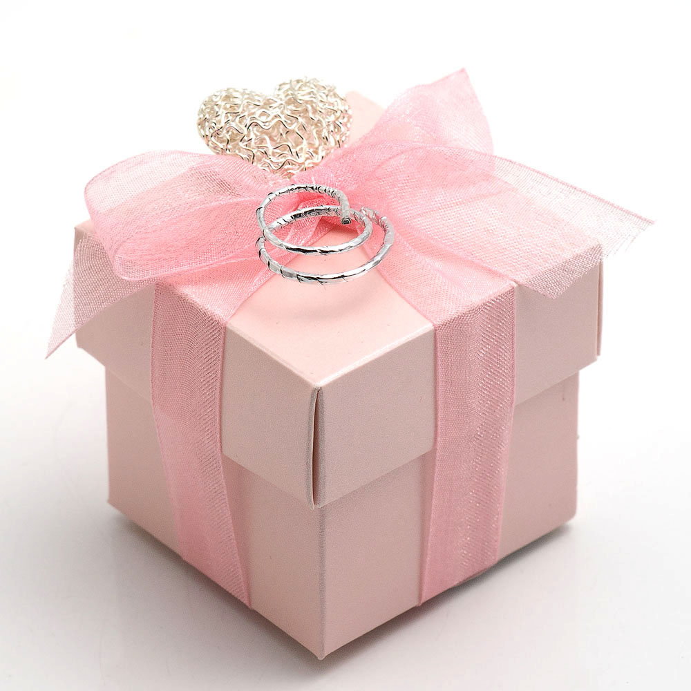 Pink Satin Square Favour Box with Lid