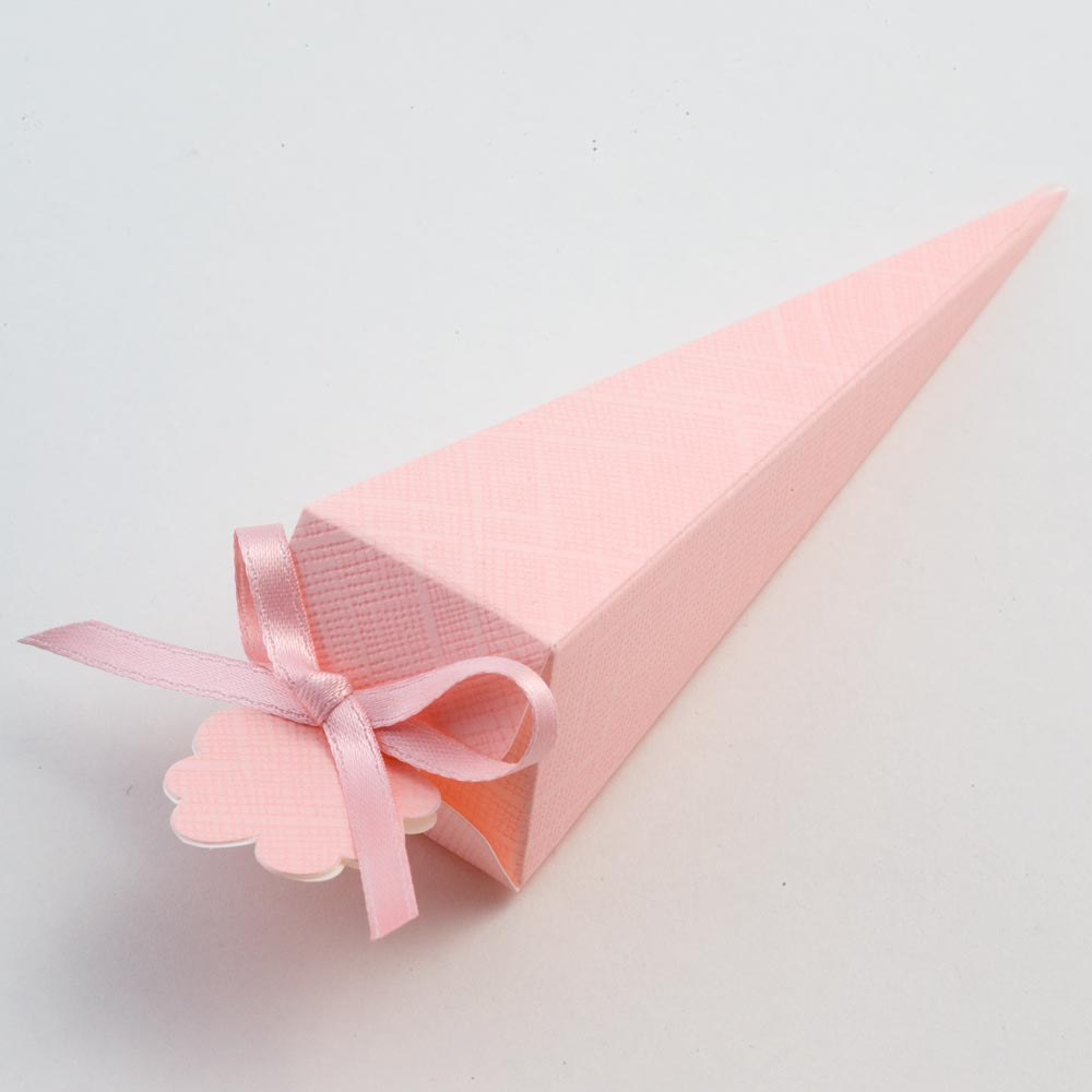 Pink Silk Cone Favour Box