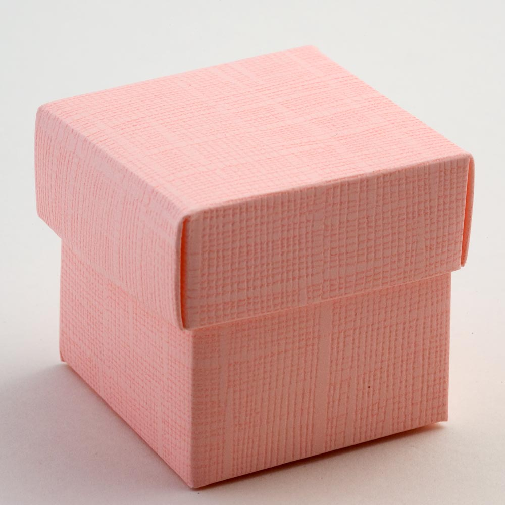 Pink Silk Square Favour Box with Lid