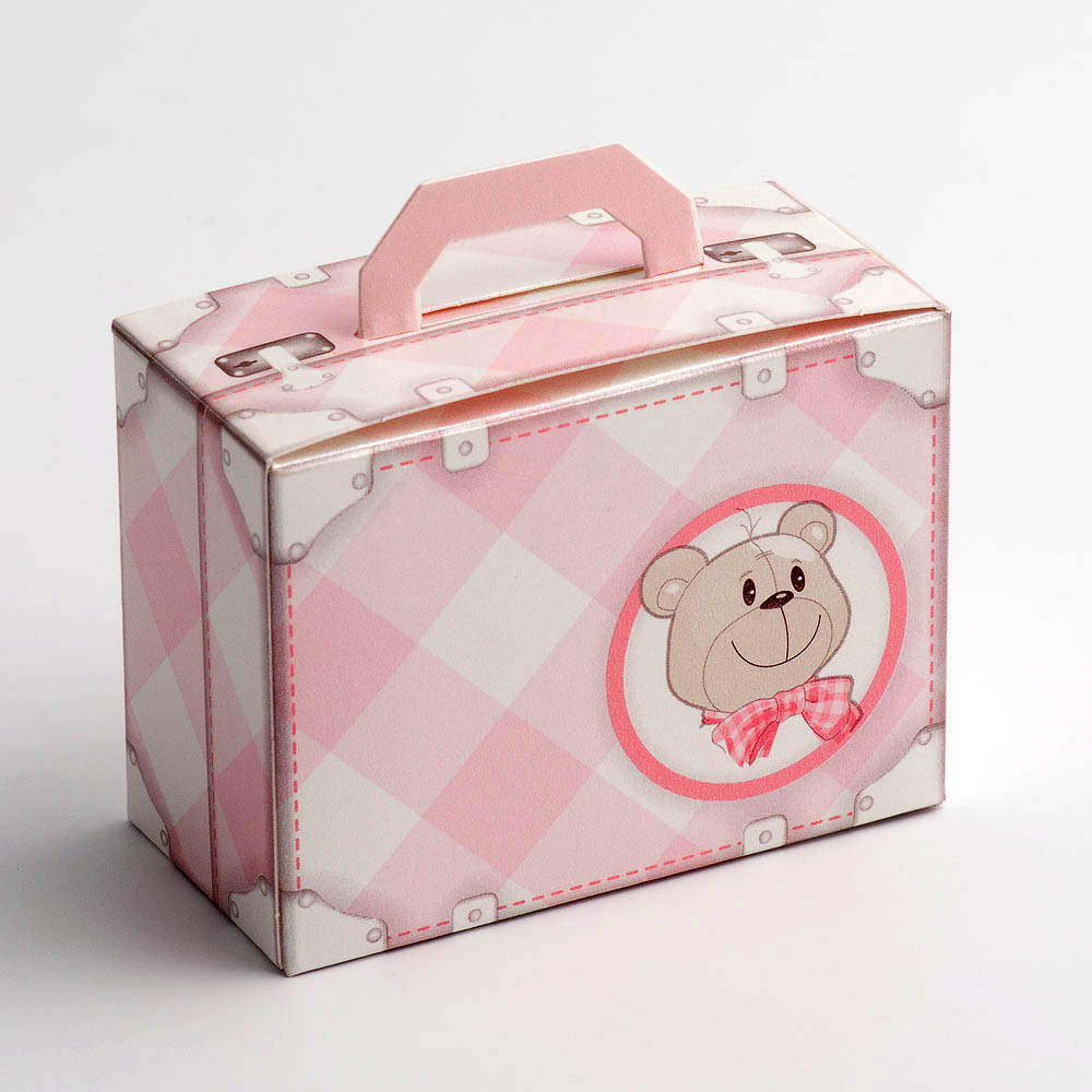 Pink Teddy Bear Baby Suitcase Favour Box