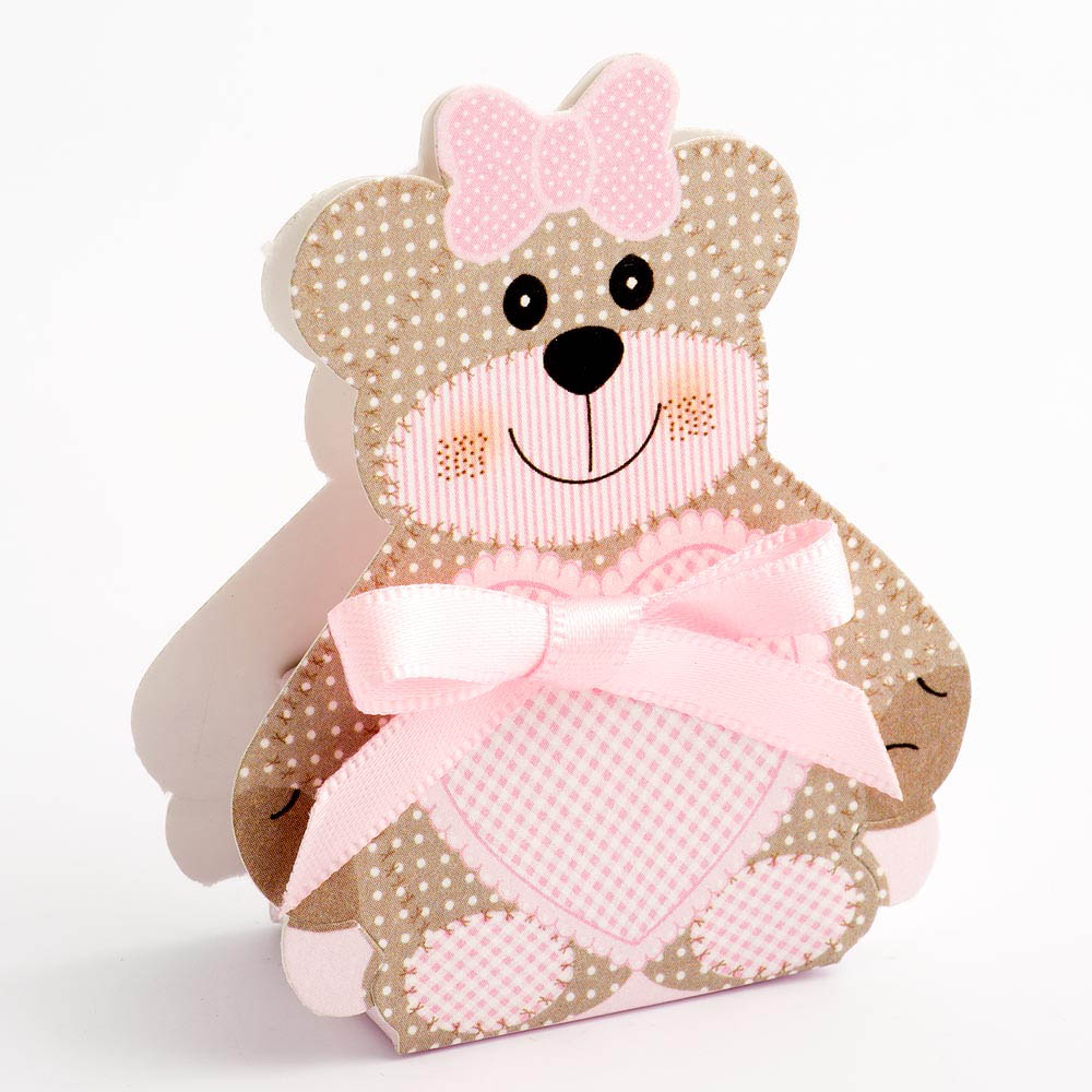 Pink Teddy Bear Favour Box - Small