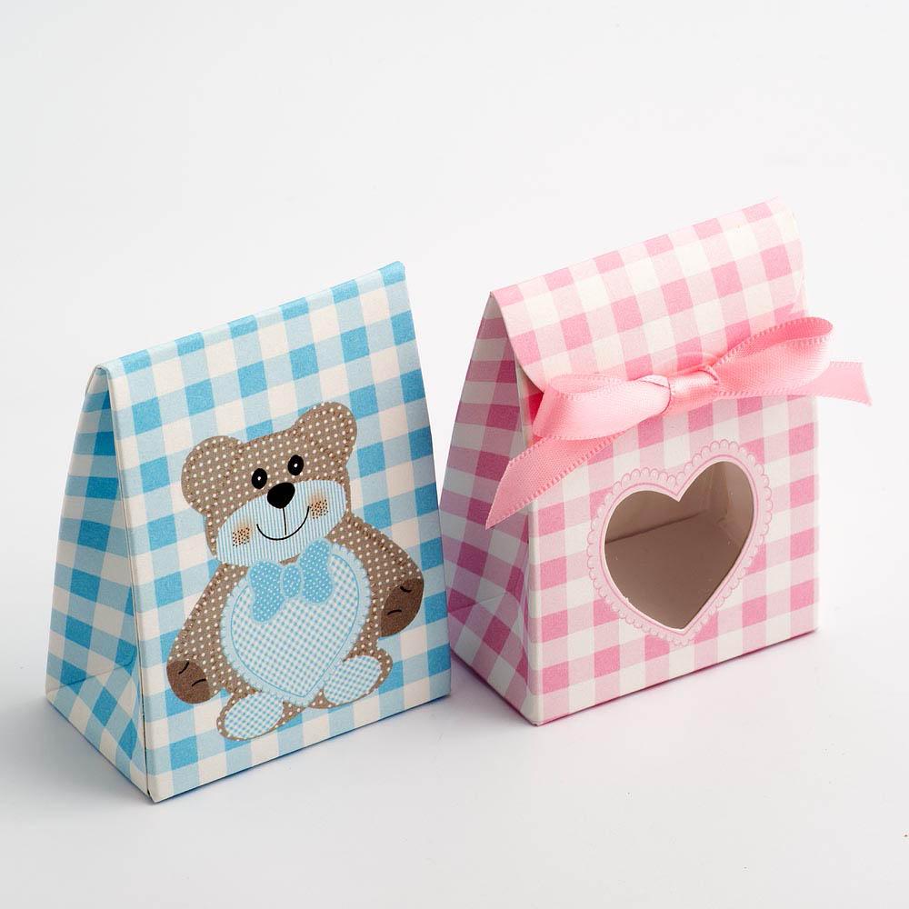 Blue Teddy Bear Sacchetto with Heart Window Favour Box