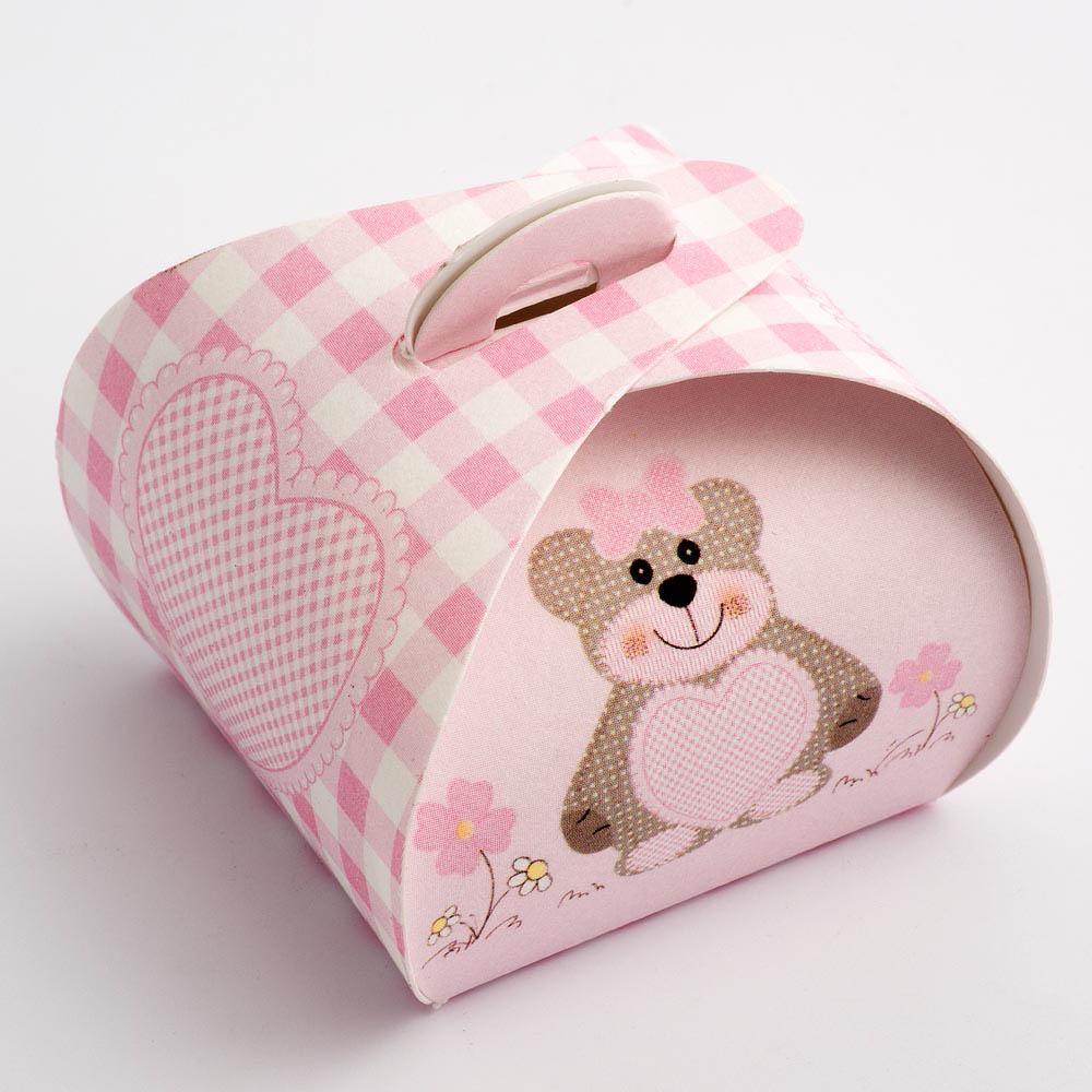Pink Teddy Bear Tortina Favour Box - Large