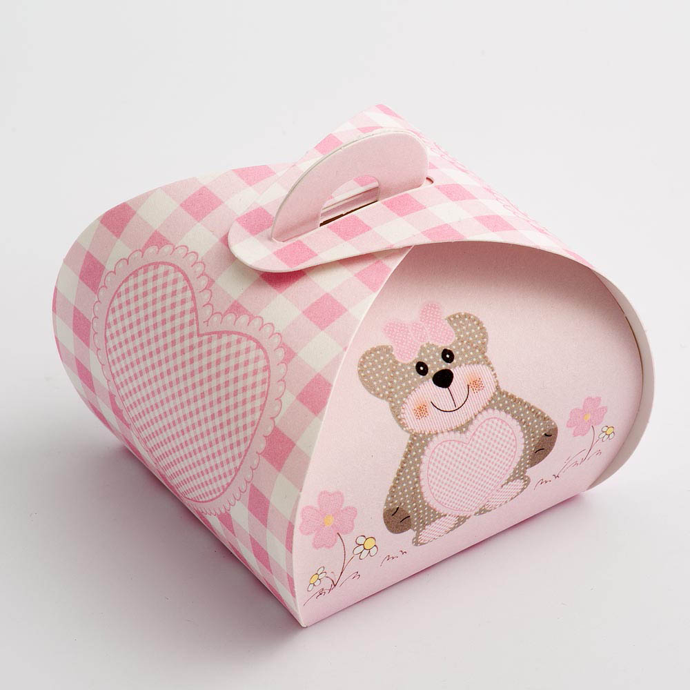 Pink Teddy Bear Tortina Favour Box - Small