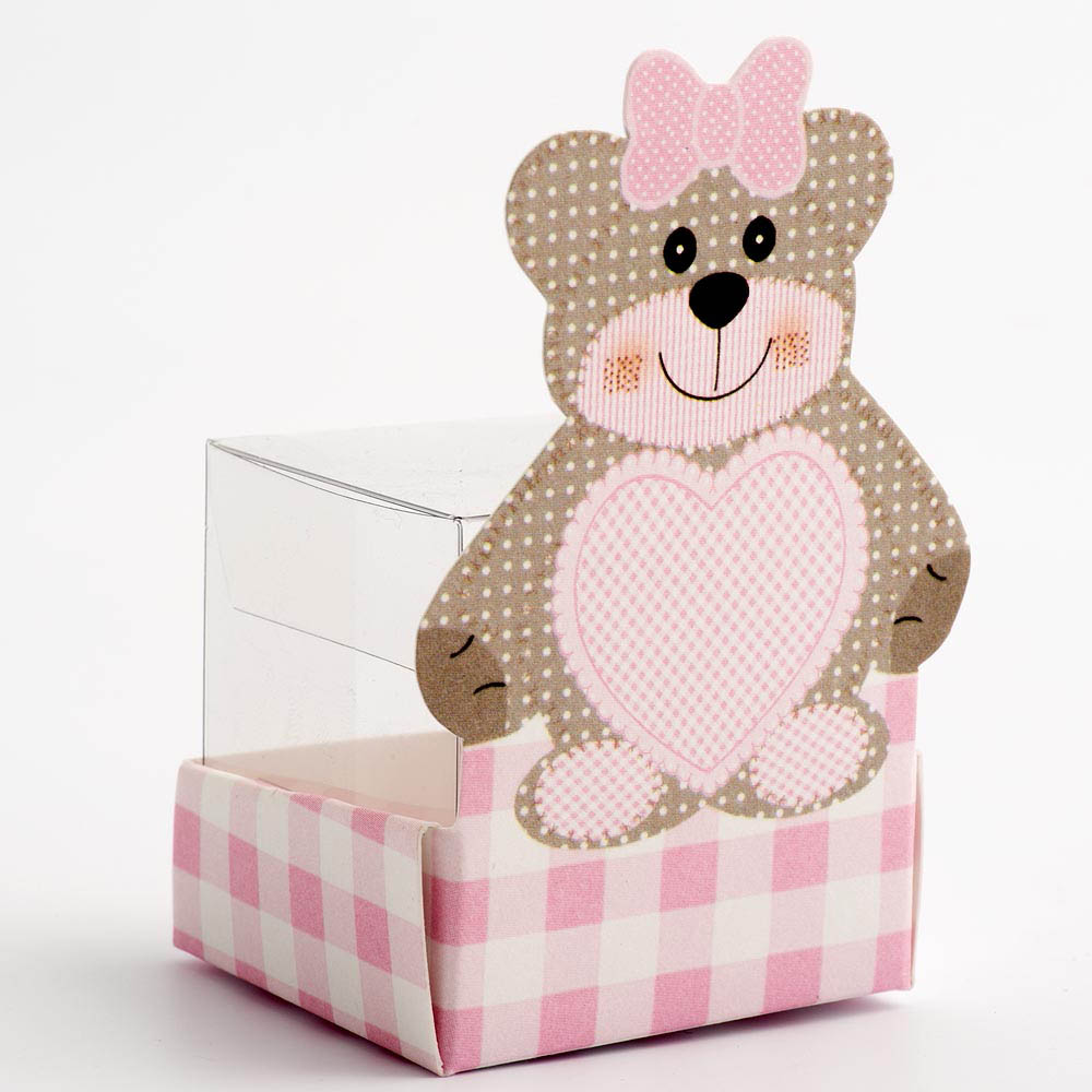 Pink Teddy Bear with Transparent Cube Insert Favour Box